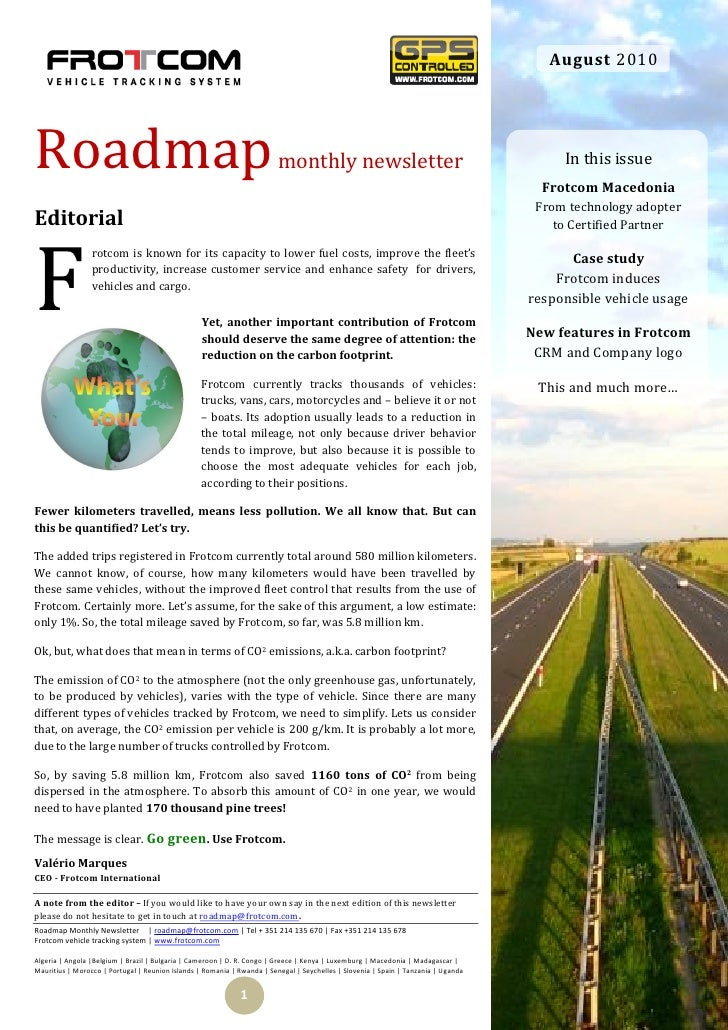 August 2010     Roadmap                                                                  monthly newsletter               ...