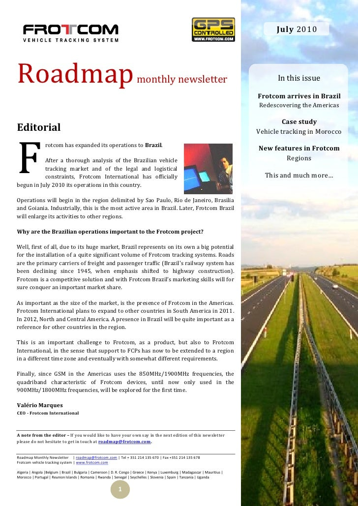 July 2010     Roadmap                                                                  monthly newsletter                 ...