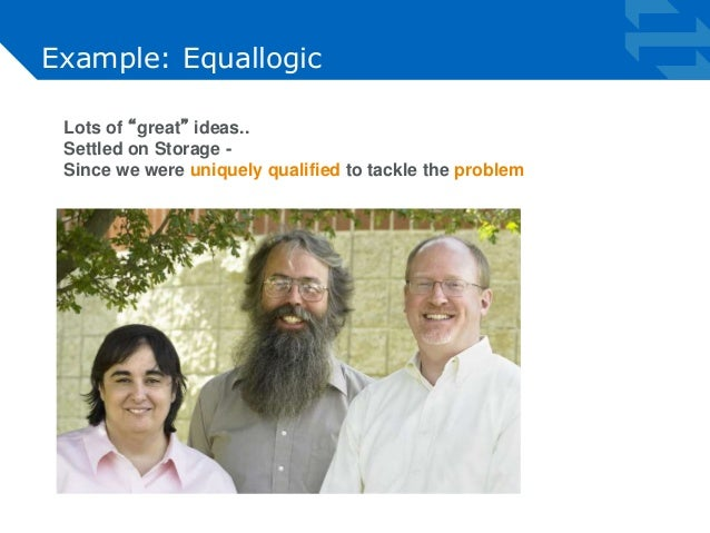 """Example: Equallogic  Lots of """"great"""" ideas..  Settled on Storage -  Since we were uniquely qualified to tackle the problem"""