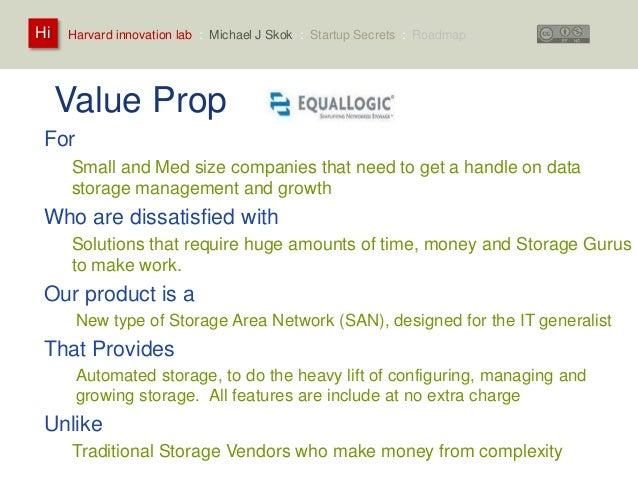 Harvard innovation lab : Michael Hi J Skok : Startup Secrets : Roadmap  Value Prop  For  Small and Med size companies that...