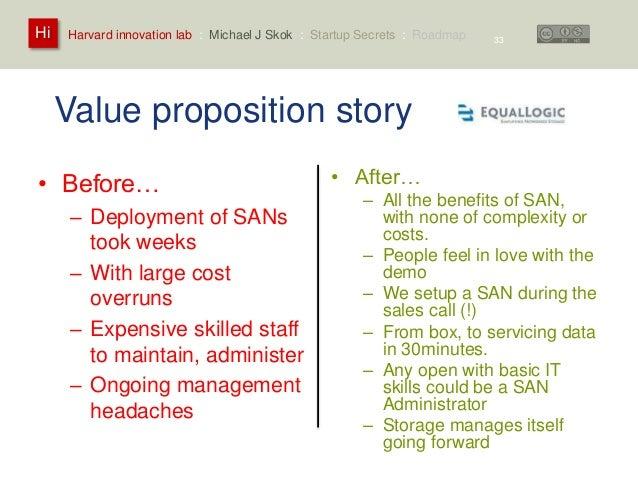 Harvard innovation lab : Michael Hi J Skok : Startup Secrets : Roadmap  Value proposition story  • Before…  – Deployment o...