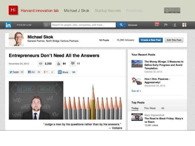 Harvard innovation lab : Michael Hi J Skok : Startup Secrets : Roadmap