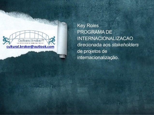 cultural.broker@outlook.com Key RolesPROGRAMA DEINTERNACIONALIZACAOdirecionada aos stakeholdersde projetos deinternacion...