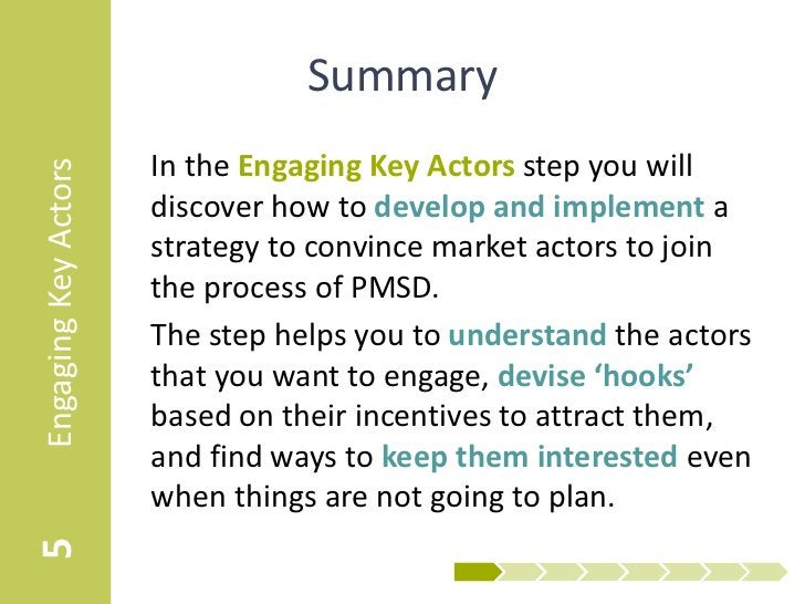 Summary                      In the Engaging Key Actors step you willEngaging Key Actors                      discover how...