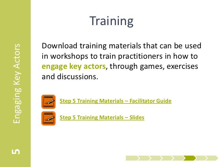 Training                      Download training materials that can be usedEngaging Key Actors                      in work...