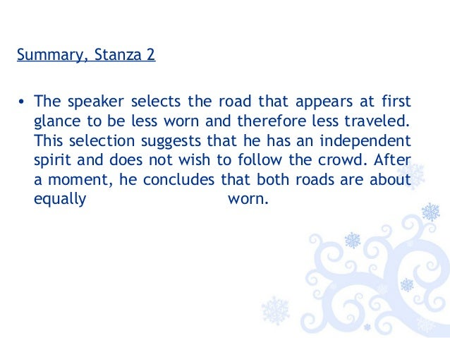 The road not taken stanza summary