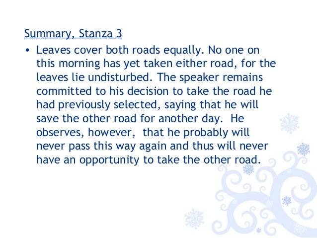 the road not taken explanation by stanza