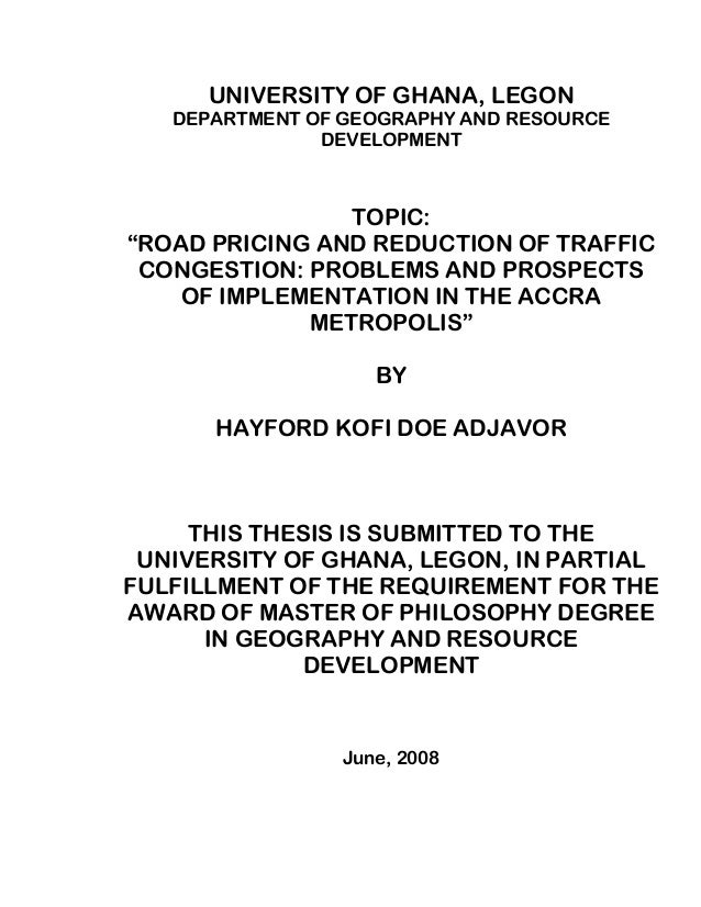 Road pricing and its prospects of reducing traffic congestion in the …