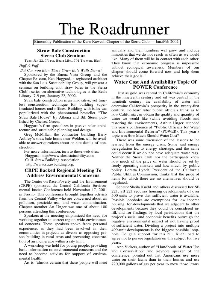The Roadrunner         Bimonthly Publication of the Kern-Kaweah Chapter of the Sierra Club — Jan./Feb 2002           Straw...