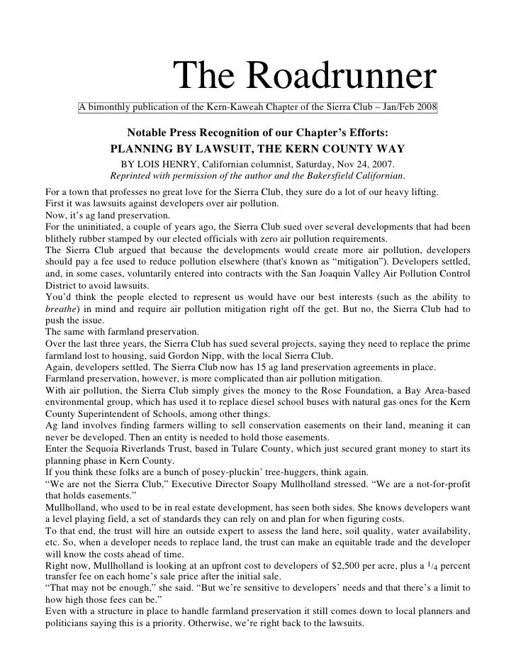 The Roadrunner        A bimonthly publication of the Kern-Kaweah Chapter of the Sierra Club – Jan/Feb 2008                ...