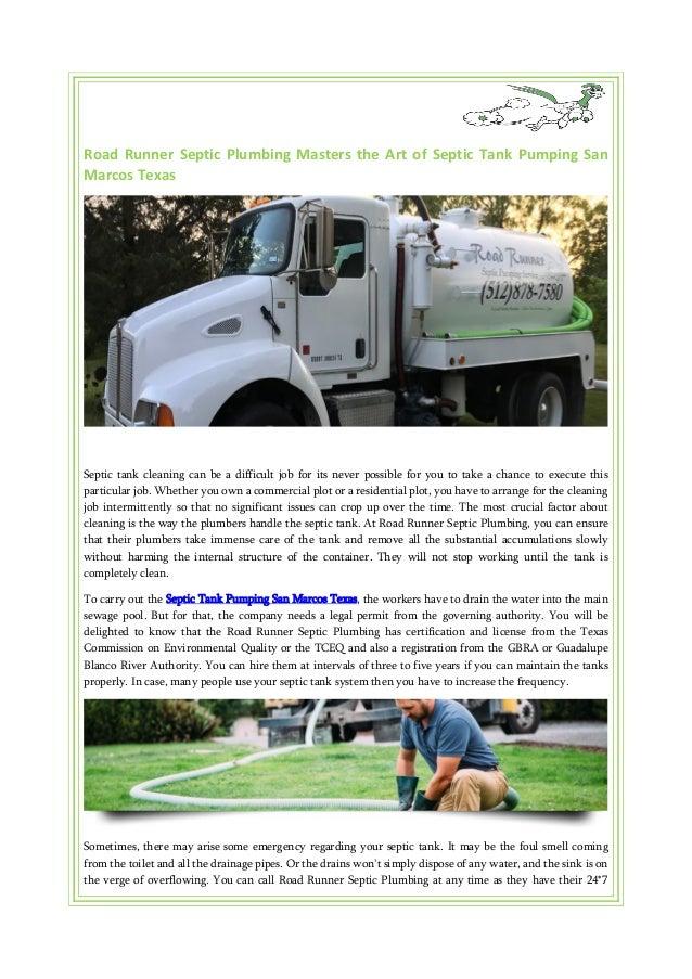 Road Runner Septic Plumbing Masters the Art of Septic Tank