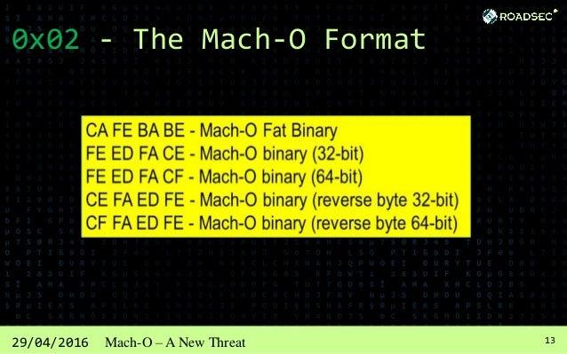 1429/04/2016 Mach-O – A New Threat 0x02 - The Mach-O Format