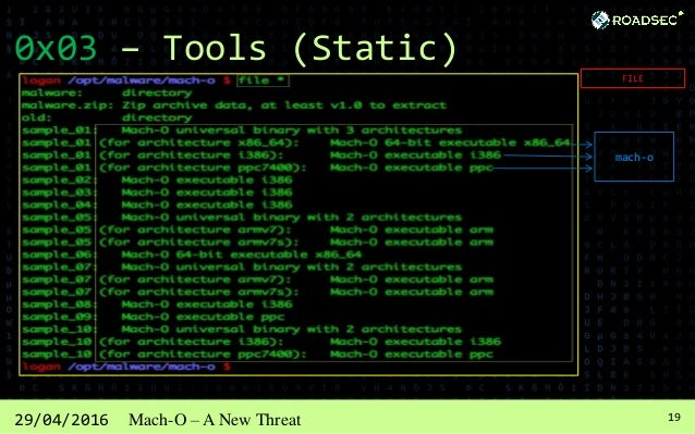 2029/04/2016 Mach-O – A New Threat 0x03 – Tools (Static) STRINGS