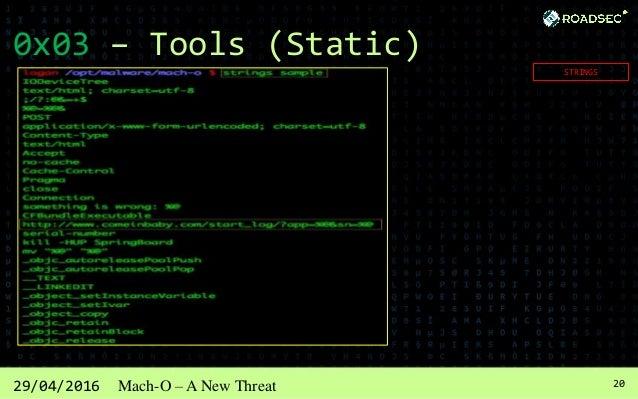 2129/04/2016 Mach-O – A New Threat 0x03 – Tools (Static) BINWALK / UPX