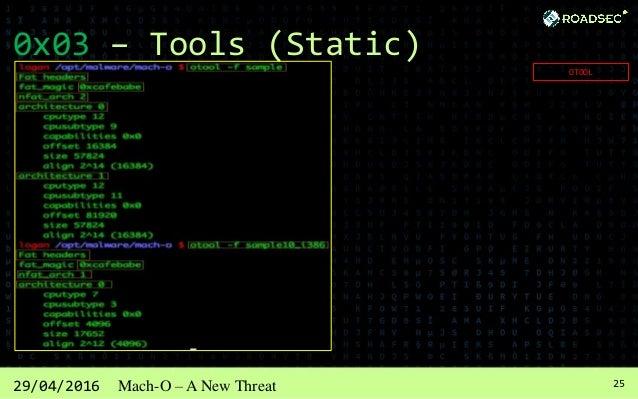 2629/04/2016 Mach-O – A New Threat 0x03 – Tools (Static) NM
