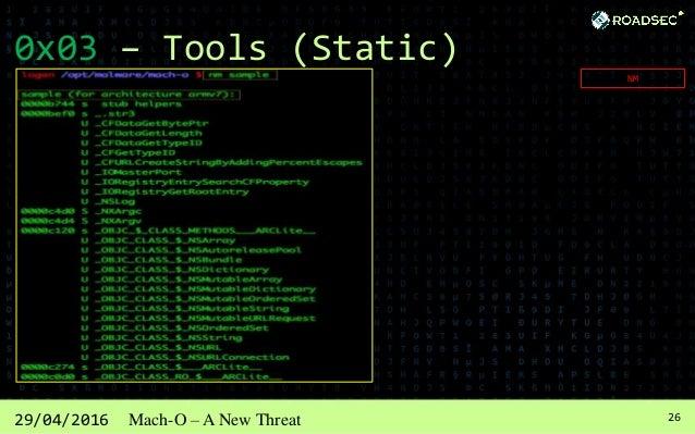 2729/04/2016 Mach-O – A New Threat 0x03 – Tools (Static) CODESIGN