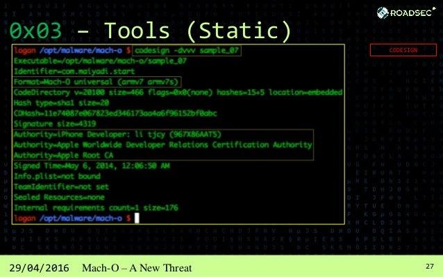 2829/04/2016 Mach-O – A New Threat 0x03 – Tools (Static) MachOView