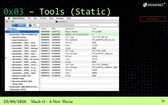 2929/04/2016 Mach-O – A New Threat 0x03 – Tools (Static) HOPPER