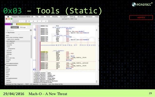 3029/04/2016 Mach-O – A New Threat 0x03 – Tools (Static) CLASS-DUMP