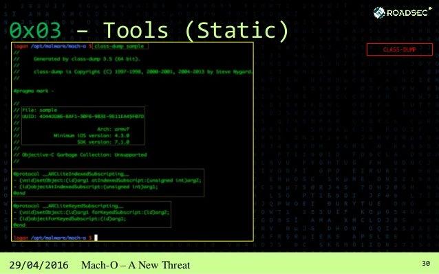 3129/04/2016 Mach-O – A New Threat 0x03 – Tools (Dynamic)