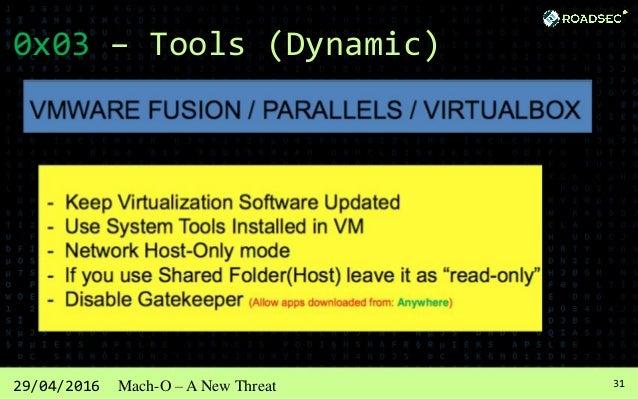 3229/04/2016 Mach-O – A New Threat 0x03 – Tools (Dynamic) XCODE