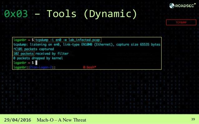 4029/04/2016 Mach-O – A New Threat 0x03 – Tools (Dynamic) WIRESHARK