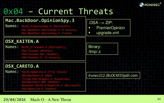 4429/04/2016 Mach-O – A New Threat 0x04 – Current Threats (MacOS:KeRanger-C) On March 2016 appear the first Ransoware writ...