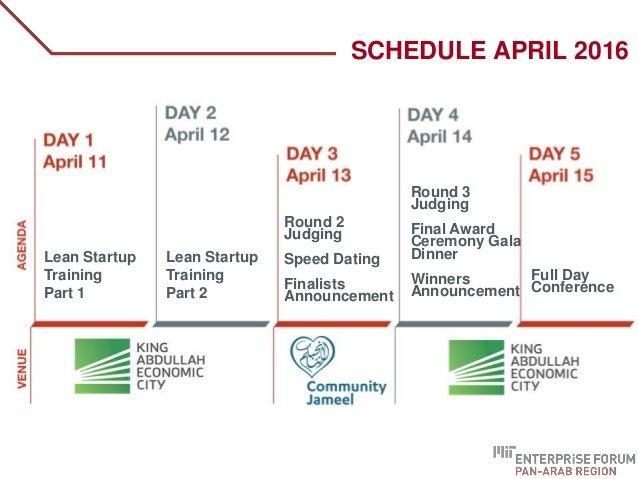 SCHEDULE APRIL 2016 Lean Startup Training Part 1 Lean Startup Training Part 2 Round 2 Judging Speed Dating Finalists Annou...