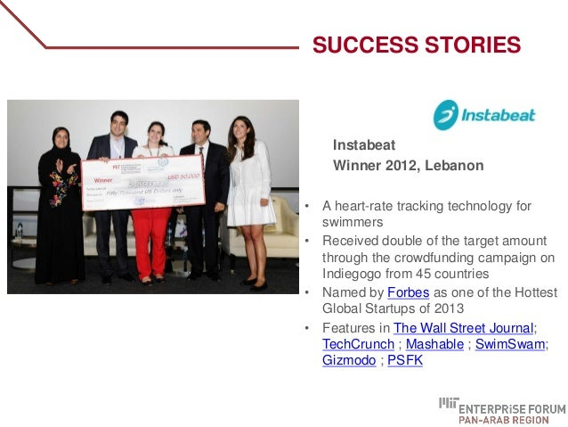 Instabeat Winner 2012, Lebanon • A heart-rate tracking technology for swimmers • Received double of the target amount thro...