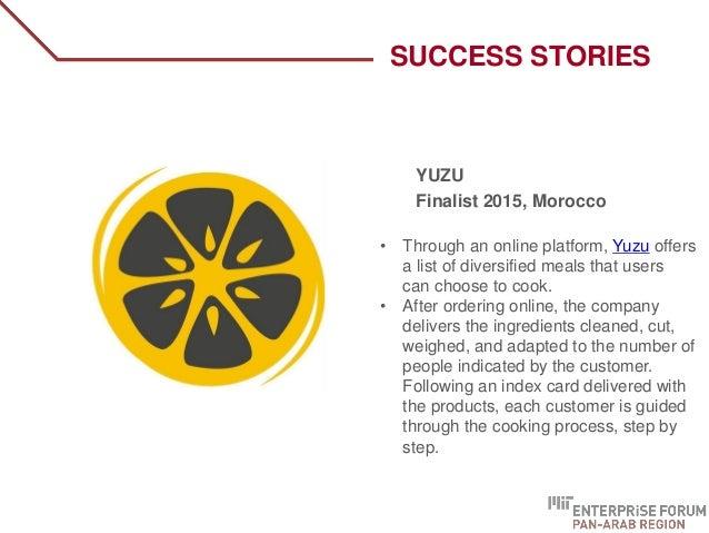 SUCCESS STORIES YUZU Finalist 2015, Morocco • Through an online platform, Yuzu offers a list of diversified meals that use...