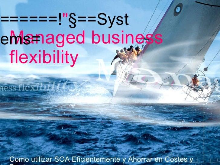 Managed business flexibility Como utilizar SOA Eficientemente y Ahorrar en Costes y Productos T-Systems España Presentacio...
