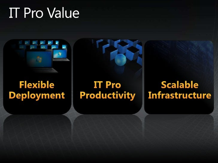IT Pro Value<br />IT Pro Productivity<br />Scalable Infrastructure<br />Flexible Deployment<br />
