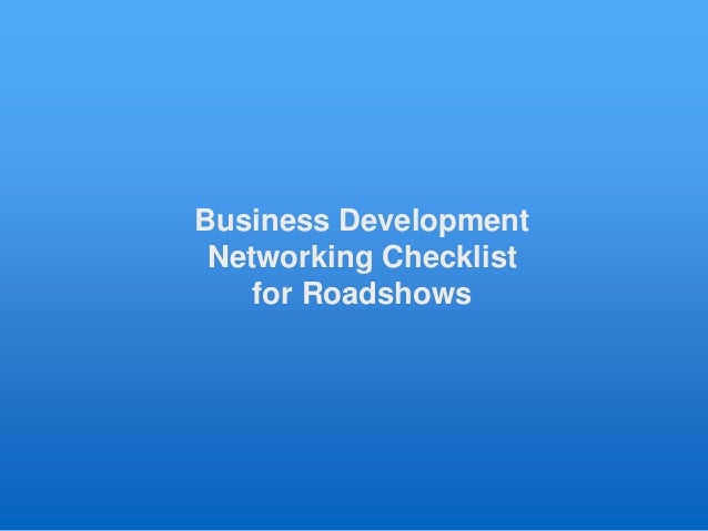 Business Development Networking Checklist for Roadshows