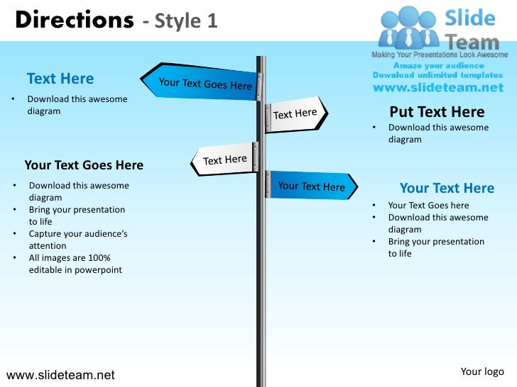 Road Signs Directions Design 1 Powerpoint Ppt Slides