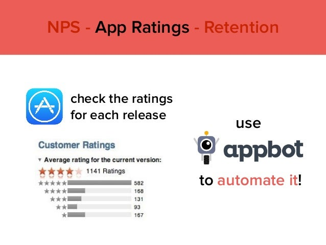 use check the ratings for each release to automate it! NPS - App Ratings - Retention