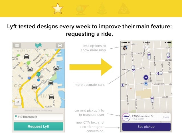 Lyft tested designs every week to improve their main feature: requesting a ride. new CTA text and color for higher convers...