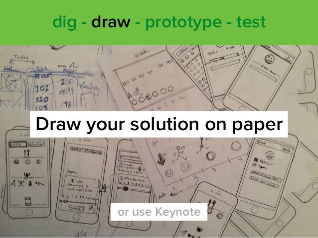 Draw your solution on paper dig - draw - prototype - test or use Keynote