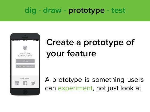 A prototype is something users can experiment, not just look at dig - draw - prototype - test Create a prototype of your f...