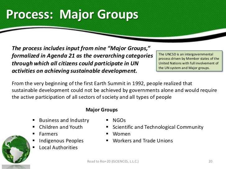 """Process: Major GroupsThe process includes input from nine """"Major Groups,""""                                                 ..."""