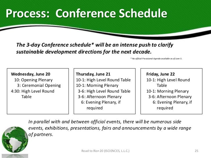 Process: Conference Schedule  The 3-day Conference schedule* will be an intense push to clarify  sustainable development d...