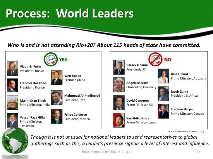 Process: World LeadersWho is and is not attending Rio+20? About 115 heads of state have committed.                        ...