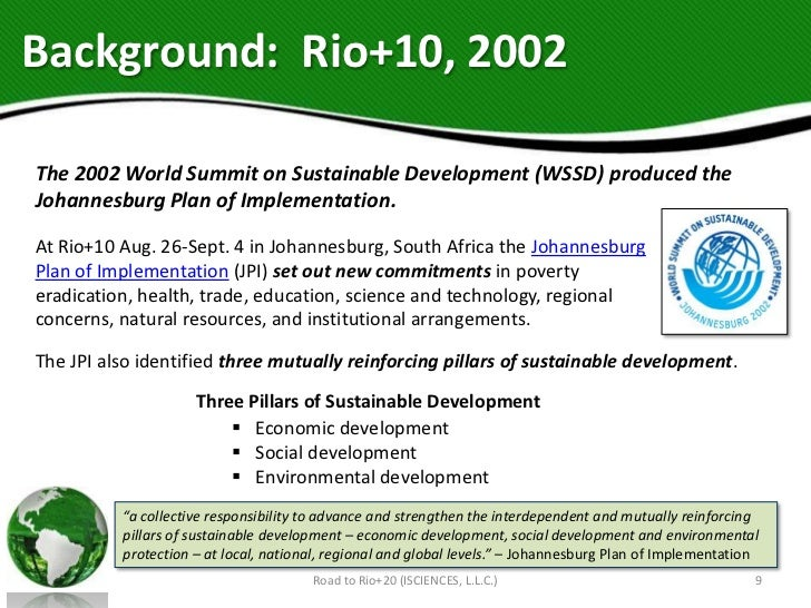 Background: Rio+10, 2002The 2002 World Summit on Sustainable Development (WSSD) produced theJohannesburg Plan of Implement...