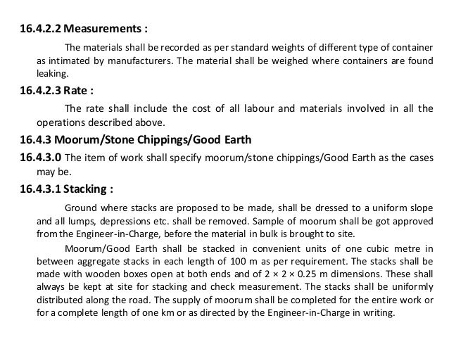 Roadwork from CPWD specification
