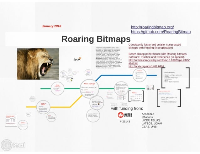 "Ja""""a'1'2°1°   Roaring Bitmaps  Consistently faster and smaller compressed wwwnmruwimvvvmwwnvw bitmaps with Roaring (in pr..."