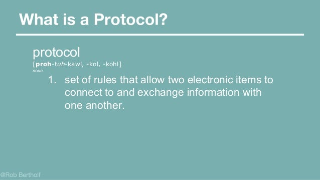 protocol [proh-tuh-kawl, -kol, -kohl] noun 1. set of rules that allow two electronic items to connect to and exchange info...