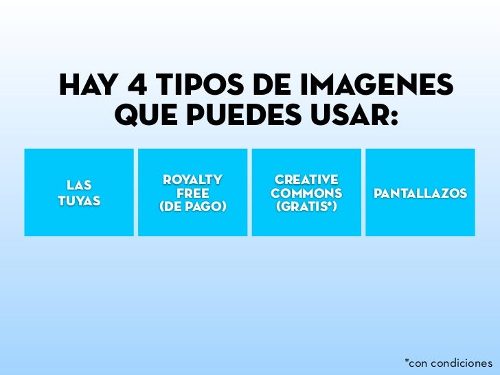 hay 4 tipos de imágenes   que puedes usar: las     royalty    creative           free     commons      pantallazostuyas   ...