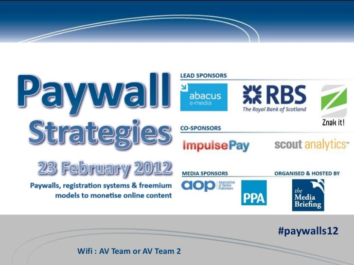 #paywalls12Wifi : AV Team or AV Team 2