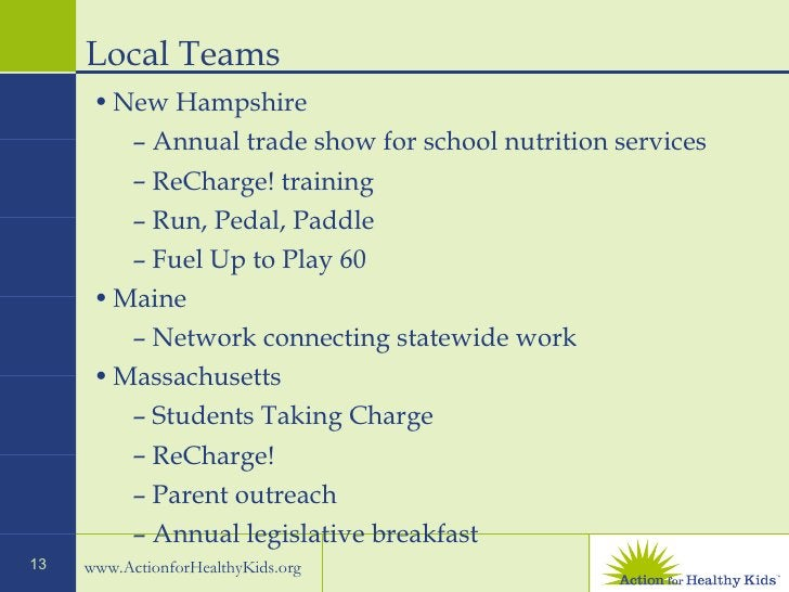 Local Teams  <ul><li>New Hampshire  </li></ul><ul><ul><li>Annual trade show for school nutrition services  </li></ul></ul>...