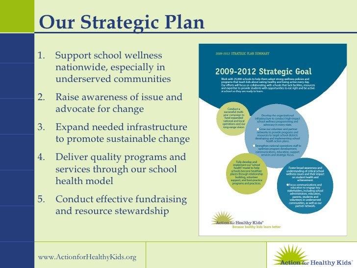 Our Strategic Plan <ul><li>Support school wellness nationwide, especially in underserved communities </li></ul><ul><li>Rai...