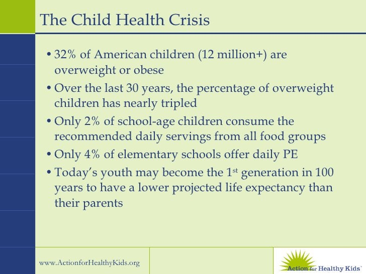 The Child Health Crisis <ul><li>32% of American children (12 million+) are overweight or obese </li></ul><ul><li>Over the ...